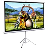 """Onebigoutlet© 100"""" Tripod Portable Projector Projection HD Screen Foldable Stand, 87""""x49"""", 16:9"""