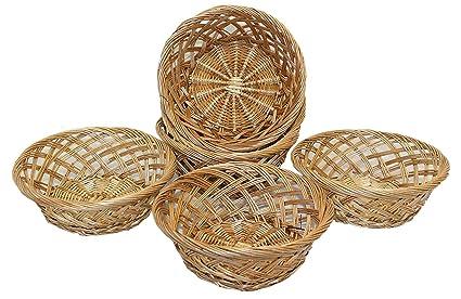 Home-ever Juego de 6 bandejas redondas de mimbre natural para cesta de pan,