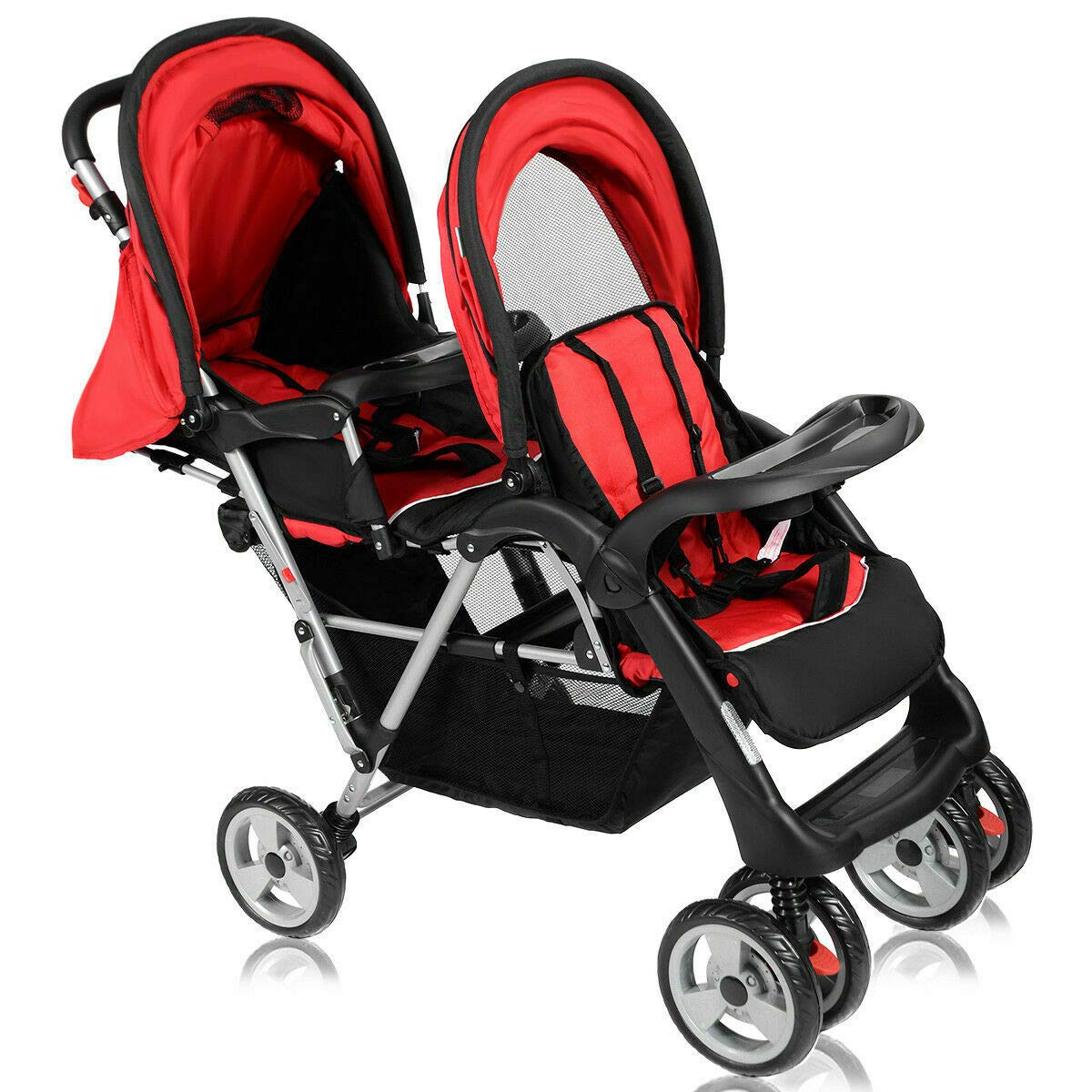 Cozinest Foldable Twin Baby Double Stroller Kids Jogger Travel Infant Pushchair Red by Cozinest (Image #6)