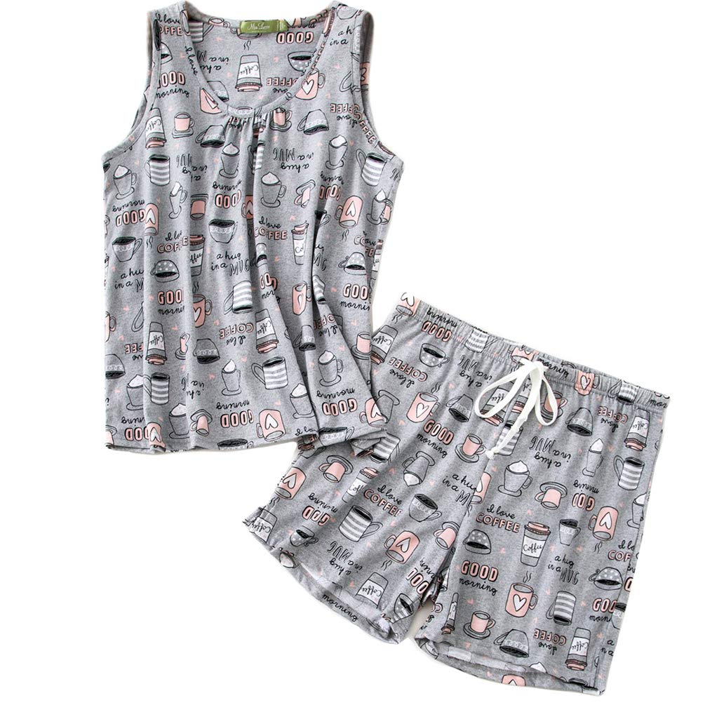 ENJOYNIGHT Women\'s Cute Sleeveless Print Tee and Shorts Sleepwear Tank Top Pajama Set (Large, Cup)