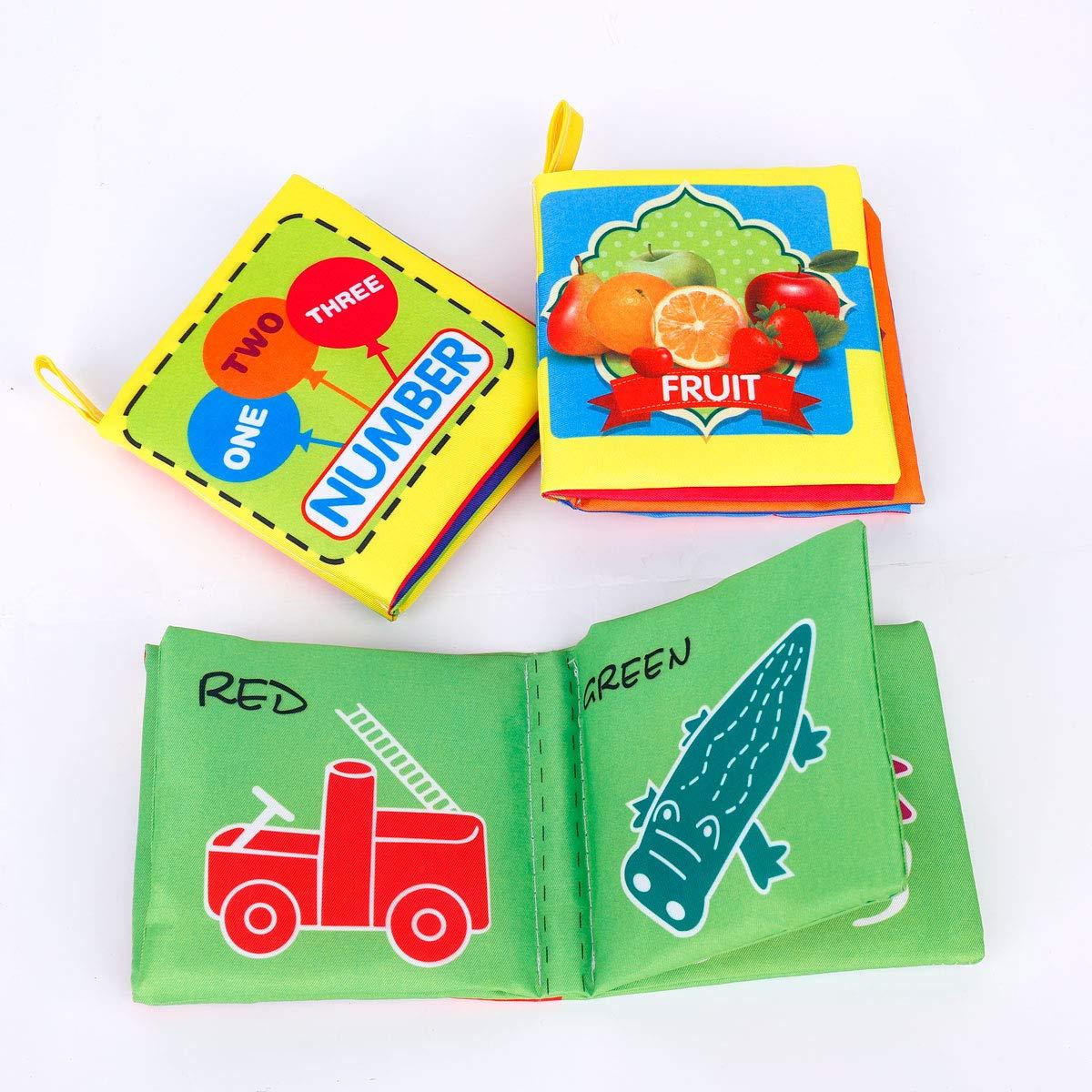 Libro de Tela Lavable Blandos Libro de Cognitivos de Tela Suave Educación Juguetes de Bebé 3 piezas MaoXinTek