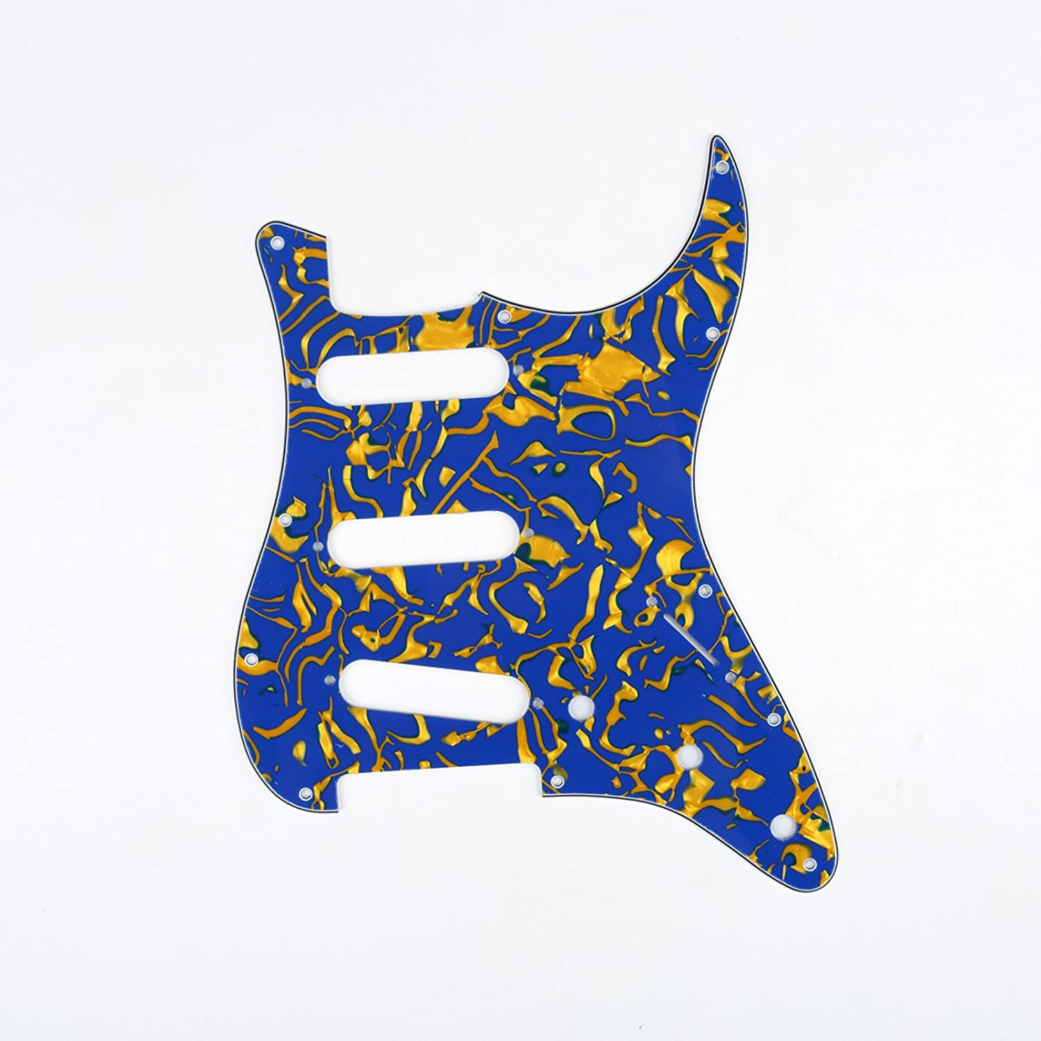 Musiclily SSS 11 Hole Guitar Stratocaster Pickguard for Fender American/Mexican Made Strat Standard Modern Style Parts,4 Ply White Pearl MX0120