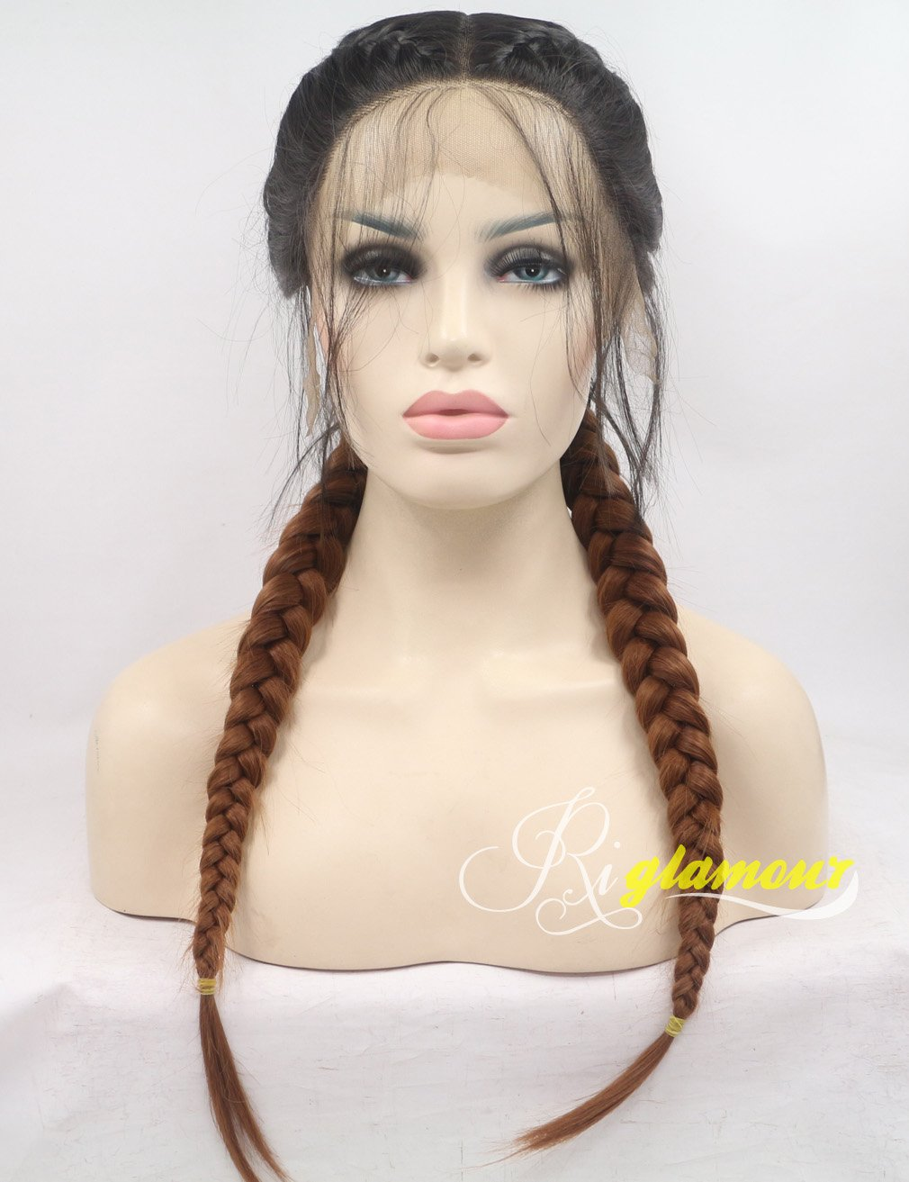 Riglamour Pigtail Wig Ombre Brown Double Braids Lace Front Wig With Baby Hair Darkest Brown Roots