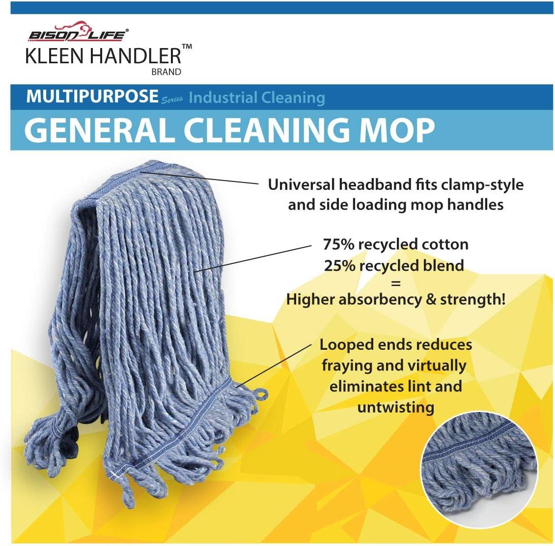 KLEEN HANDLER Heavy Duty Commercial Mop Head ReplacementWet Industrial Blue C