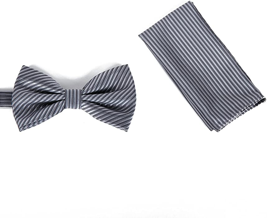 548387932253 Brand Q Mens Bow Tie with matching Hanky - Black/White at Amazon ...