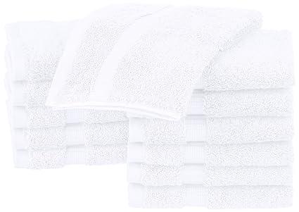 Pinzon - Toallitas de mezcla de algodón orgánico, juego de 12, Blanco