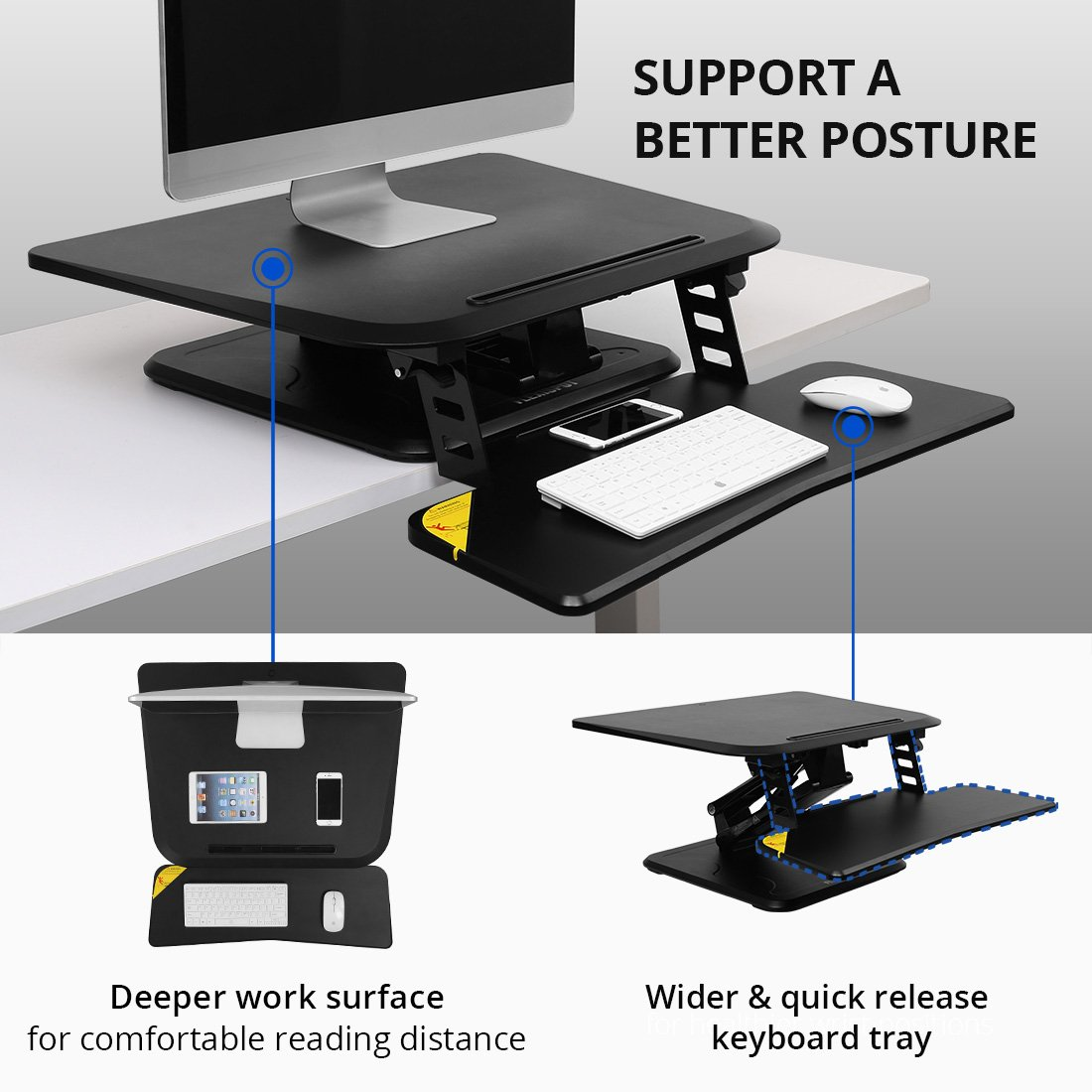 FlexiSpot 27 Height Adjustable Standing Desk Converter w Quick Release Removable Keyboard Tray