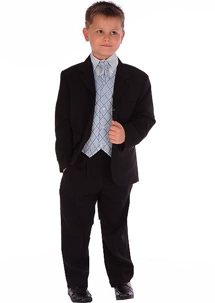 Los juegos de Negro y traje azul de la boda muchacho de la página del juego formal de 5 piezas 0-3 meses hasta los 14-15 años
