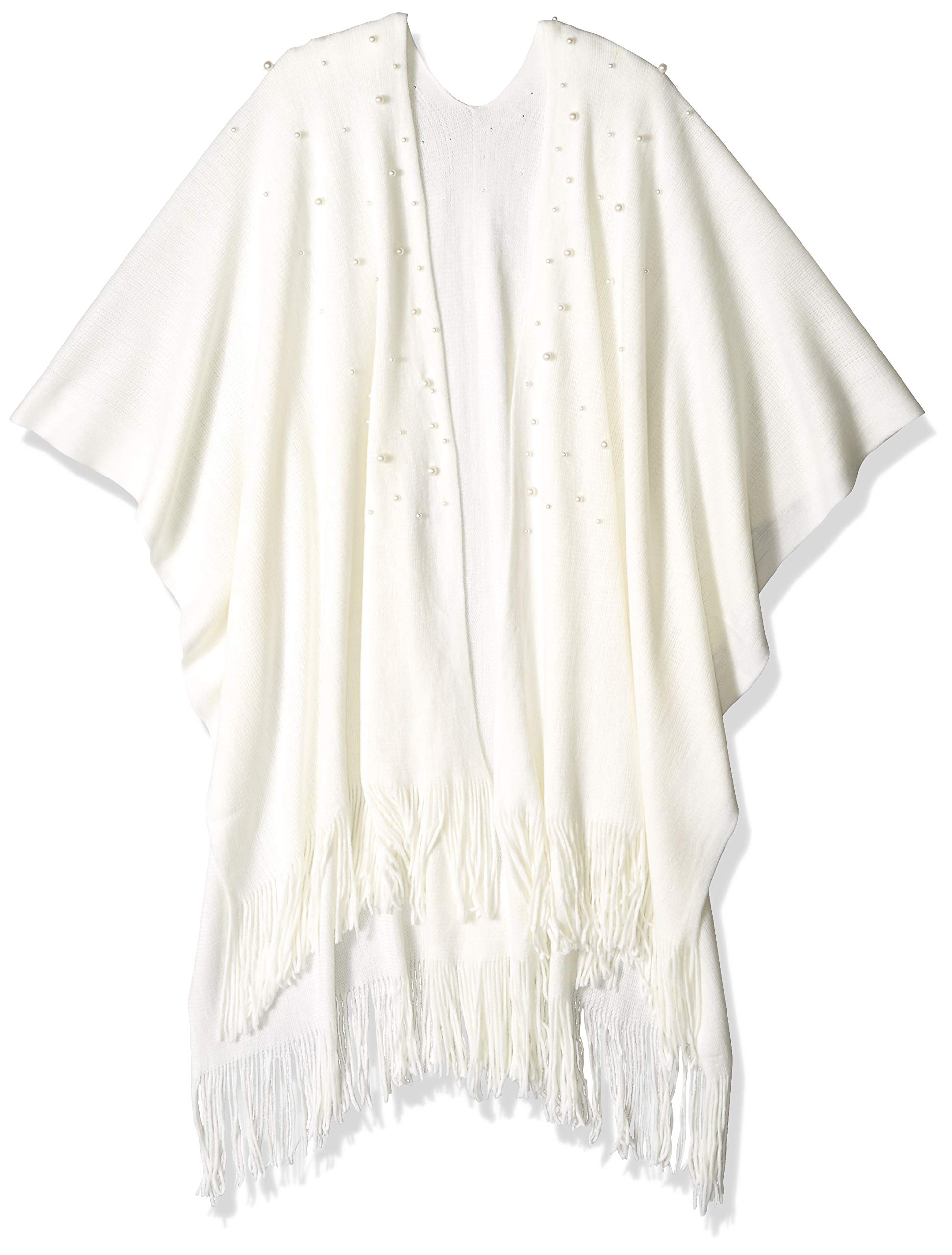 Orchid Row Women's Classic Knit Oversized Ruana with Hand-placed Faux Pearls Ivory