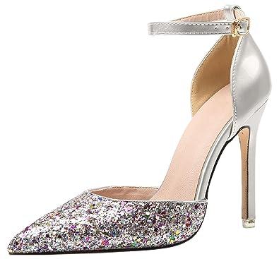 BIGTREE Hochzeit High Heels von Damen D'Orsay Kleid Pumps Glänzend Pailletten Knöchelriemen Spitze Zehen Pumps Silber 41 EU y523f