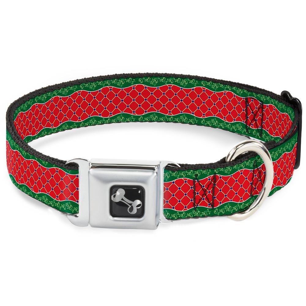 Buckle-Down Seatbelt Buckle Dog Collar Holiday Trim Stripe Green Red 1.5  Wide Fits 16-23  Neck Medium