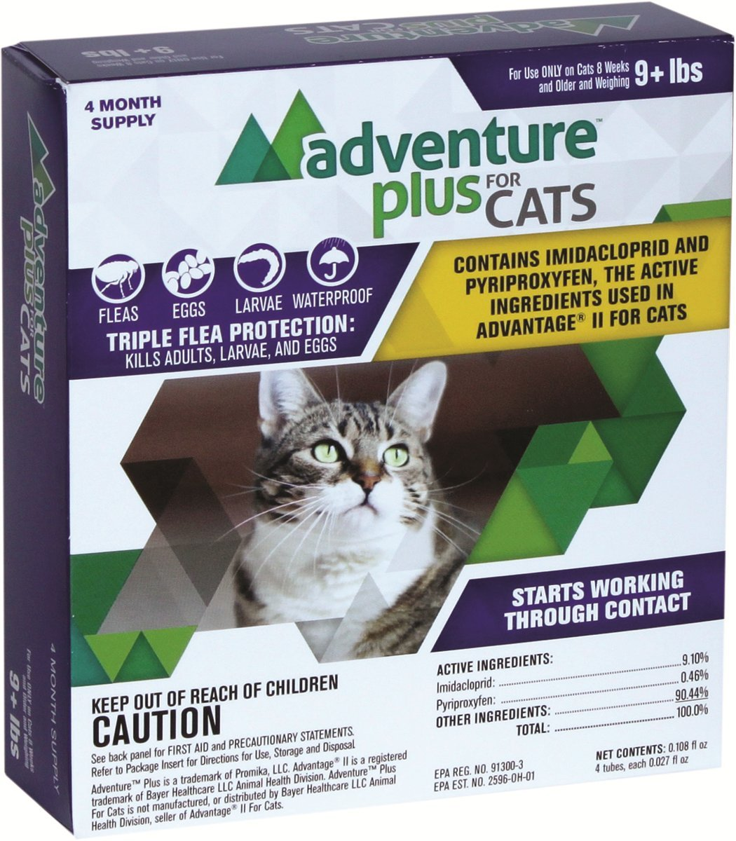 Adventure Plus - DROPS - KILLS Fleas and Eggs - Protection (4-dose) CAT (9+ lbs)