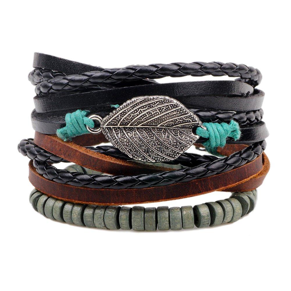 HighPlus Woven Leather Bracelet Hemp Rope Bracelet Vintage Wristband