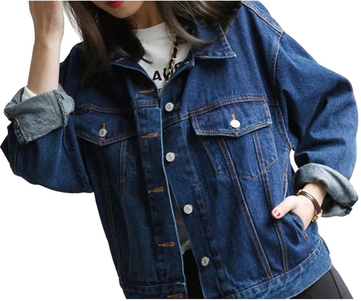 WEHOPS Vintage Trucker Jacket Denim Coat Loose Boyfriend Style Full Sleeve Women's Outerwear Waistcoat S