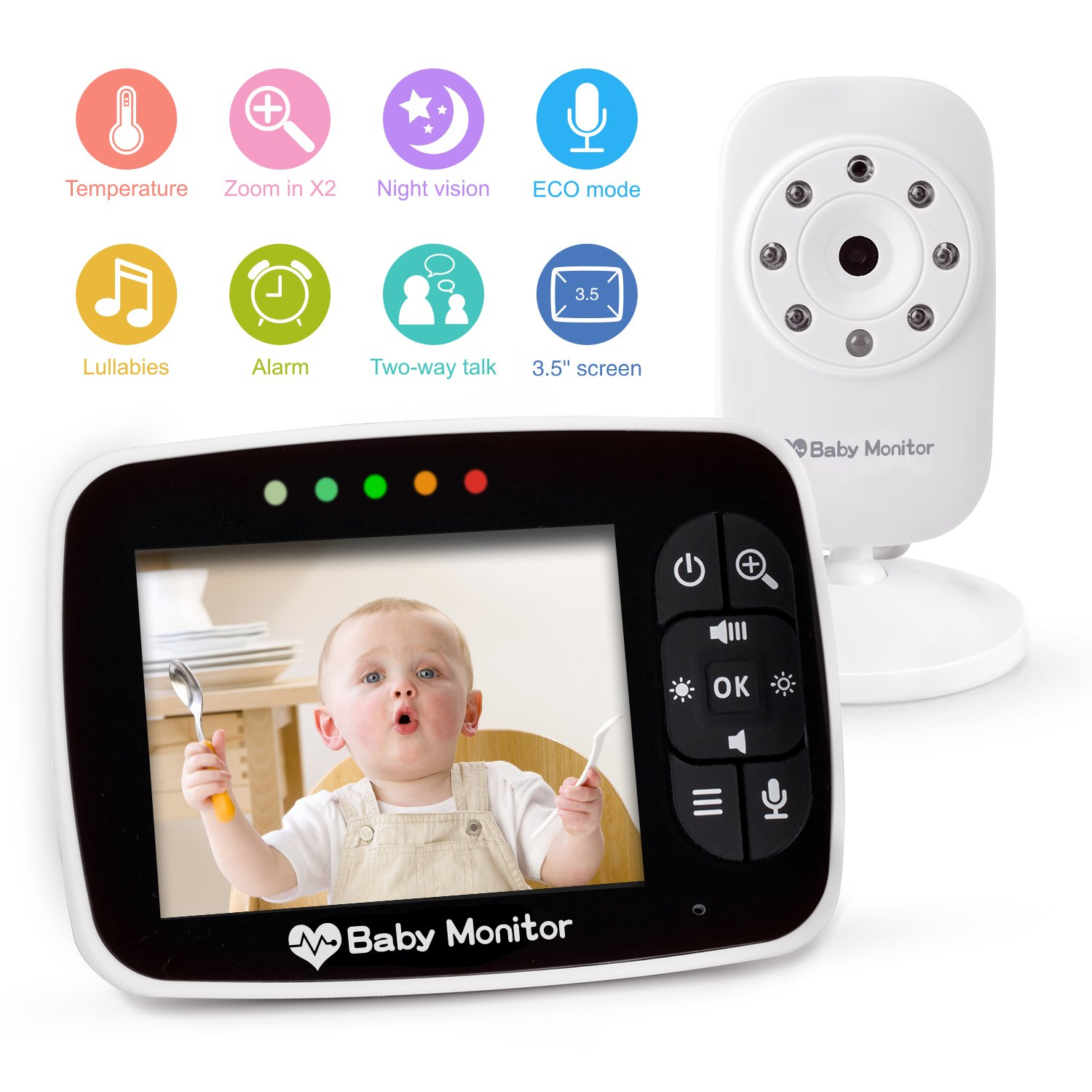 Video Baby Monitor 3.5 Large LCD Screen Display with Night Vision Camera, Two Way Talk Audio, Temperature Sensor, ECO Mode, Lullabies and Long Transmission Range, 2.4 GHz FHS Frequency