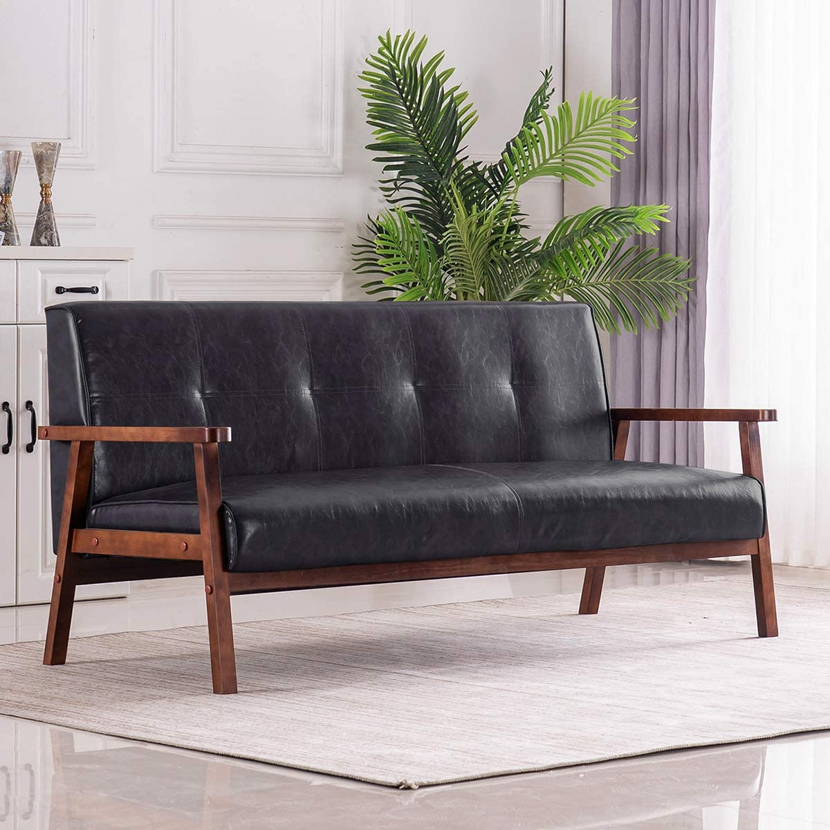 Mid-Century Retro Modern Faux Leather Upholstered Wooden 3-Seater Sofa (Black)