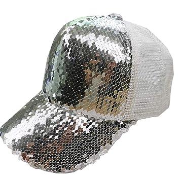 Karidesh Gorra de béisbol clásica, Gorra con Lentejuelas y Sombreros Ajustables con Correa Ajustable y Sombrero de papá (Color : Silver): Amazon.es: Hogar