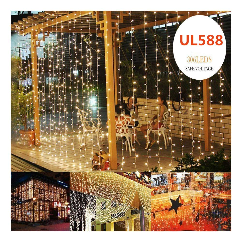 KNONEW LED Window Curtain Icicle Lights, 306 LEDs, 9.8ft x 9.8ft, 8 Modes, String Fairy Light, LED String Light for Wedding Party/Christmas/Halloween/Party Backdrops (Warm White) by KNONEW (Image #1)