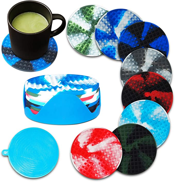 Silicone Drink Coaster Tableware Hot Tea Coffee Cup Pad Table Decor Blue