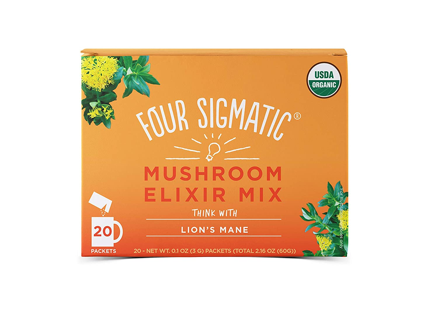 Four Sigmatic Organic Mushroom Elixir Mix with Lion s Mane and Antioxidants for Concentration Focus, Vegan, Paleo, 0.1 Ounce 20 Count