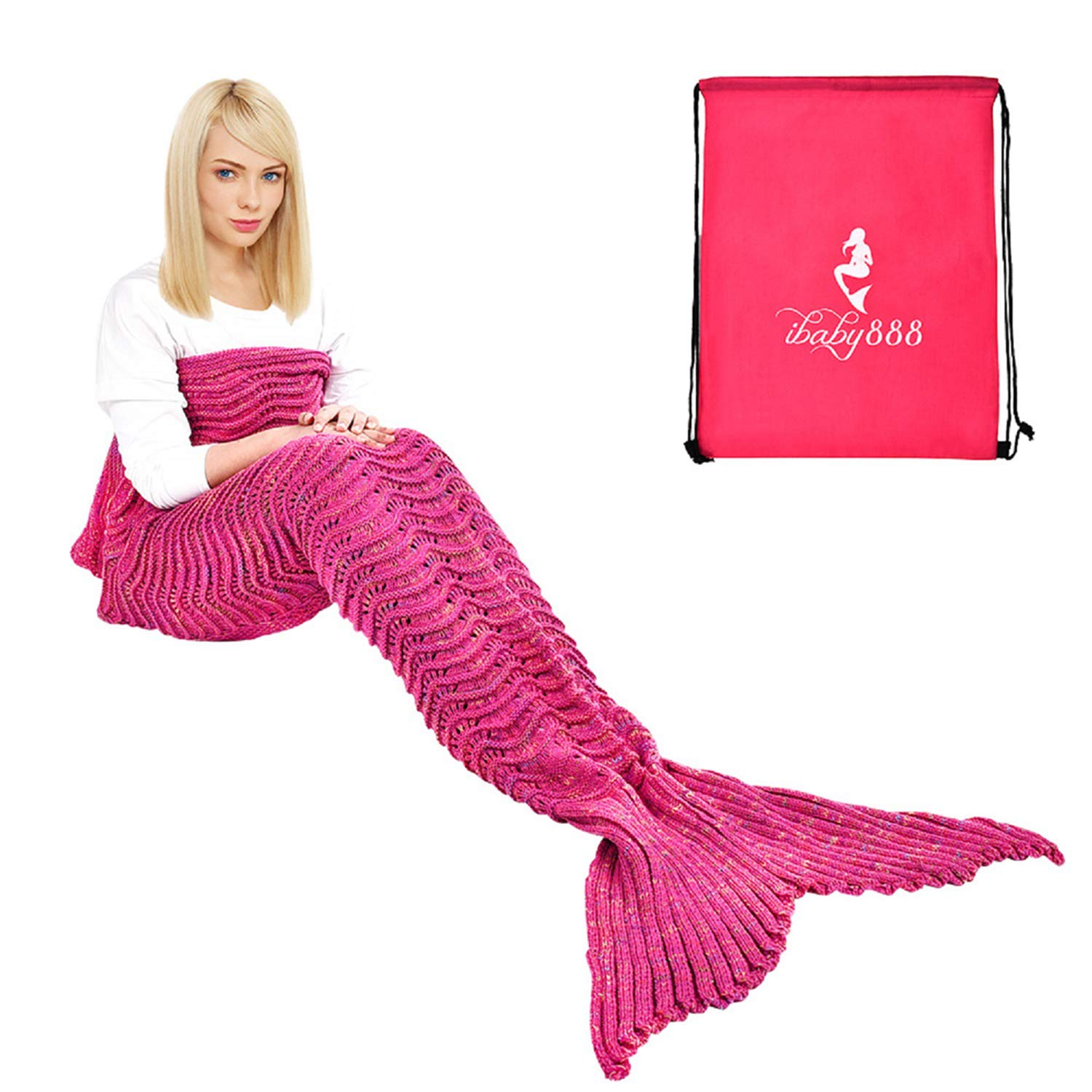 iBaby888 Wearable Mermaid Tail Blanket, All Seasons Warm Knitted Bed Blanket Sofa Quilt Living Room Sleeping Bag for Kids and Adults, Wave Pattern, 70.9'' x 35.5'' (180 x 90cm), Rose