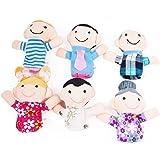 Qiyun 6 Pc Soft Plush My family Finger Puppet Set Includes Grandma Granddad Sister Brother Mom Dad