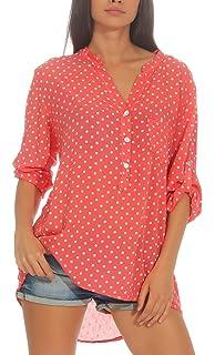 Malito Damen Bluse mit Punkten   Tunika mit ¾ Armen   Blusenshirt auch  Langarm tragbar   918f874d34