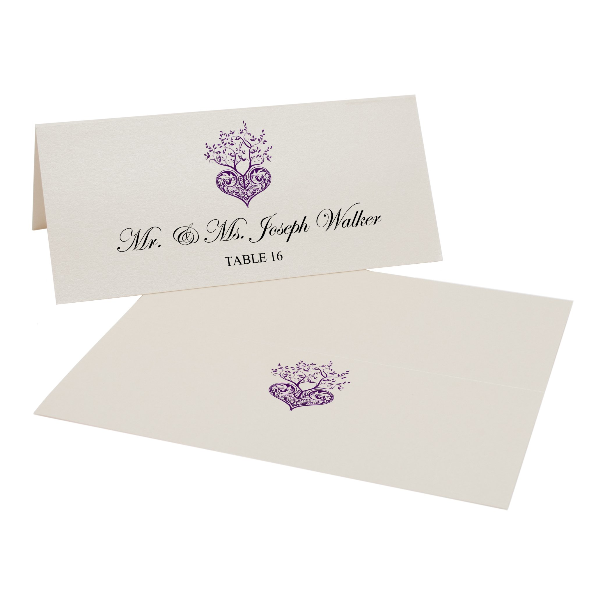 Tree of Life Heart Easy Print Place Cards, Champagne, Eggplant, Set of 500 (125 Sheets) by Documents and Designs