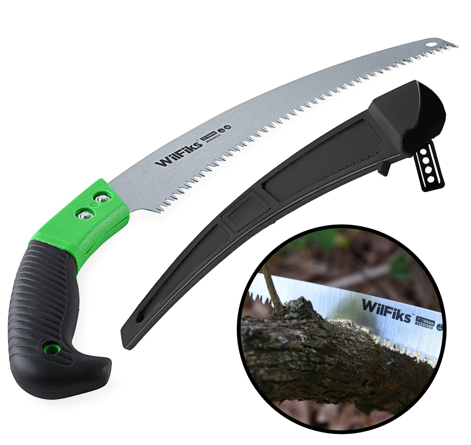 WilFiks Razor Sharp 13'' Heavy Duty Curved Hand Saw, Perfect For Sawing, Trimming, Gardening, Pruning & Cutting Wood, Drywall & More, Comfortable Ergonomic Non-Slip Handle, Includes A Protective Sheath