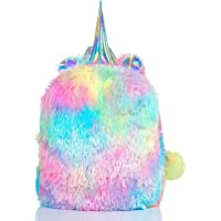 Mumoo Bear Fluffy Unicorn Backpack, Mumoo Bear Cute Plush Unicorn Backpack,Fluffy Mini Unicorn Backpack Bags for Girls…