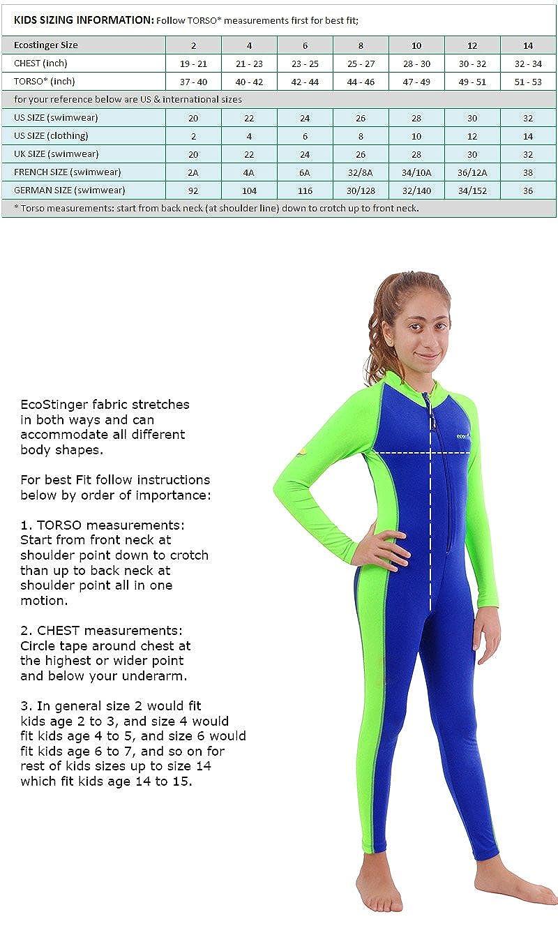 554298994accb Kids Full Body Swimsuit UV Swimwear Stinger Suit UPF50+ Blue Lime Size 6   Amazon.co.uk  Clothing