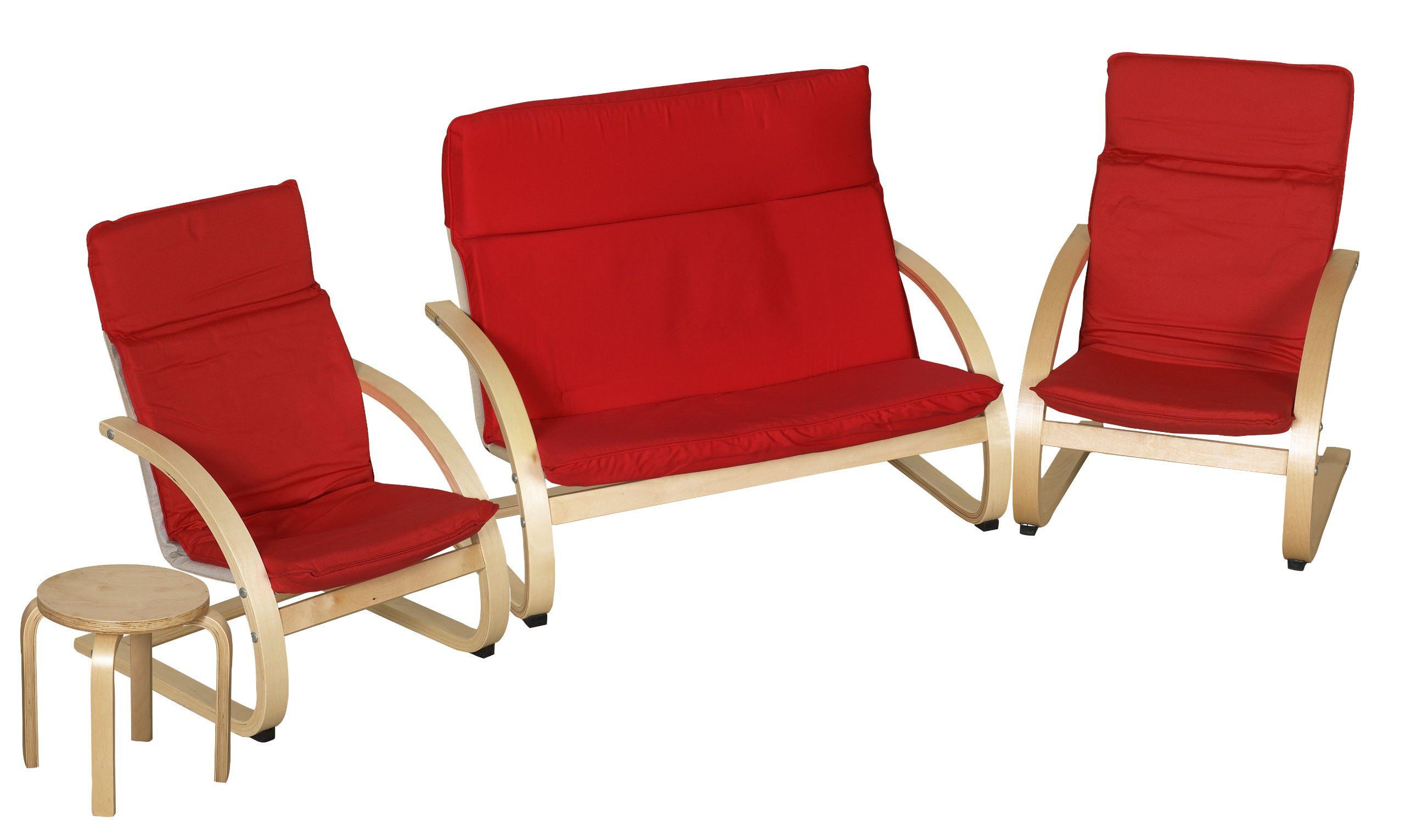 ECR4Kids Natural Bentwood Children's Table and Chair, Birch Finish with Red Cushions (4-Piece Set)