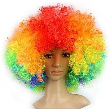 BIEE Peluca Mujer Hombre Carnaval Halloween años 80 Punk Wave mójol Pelo de Punta Mezcla