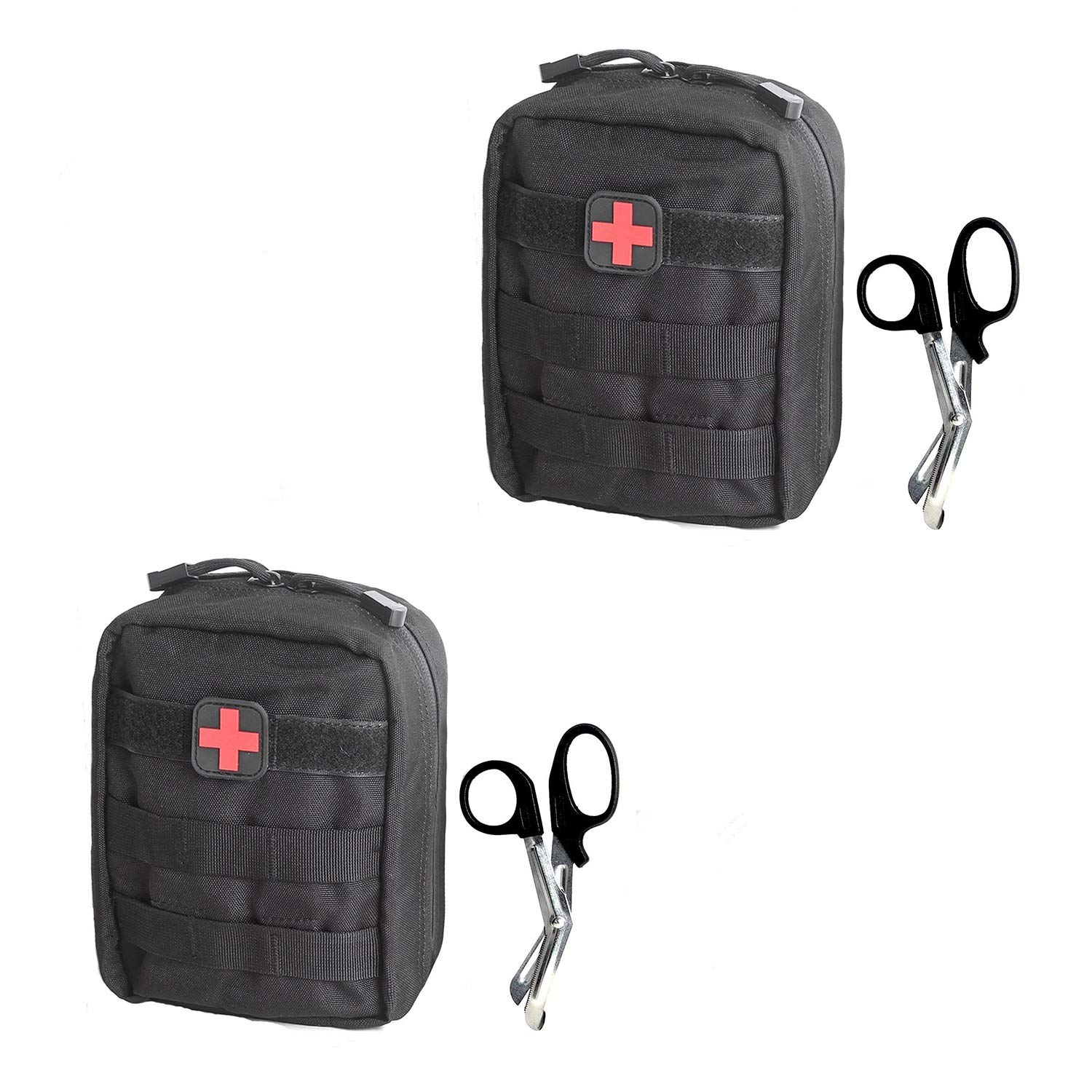 Tactical MOLLE EMT Pouch Medical Utility Bag 1000D Nylon with First Aid Patch and Shear (Black with First Aid Patch(2pack))