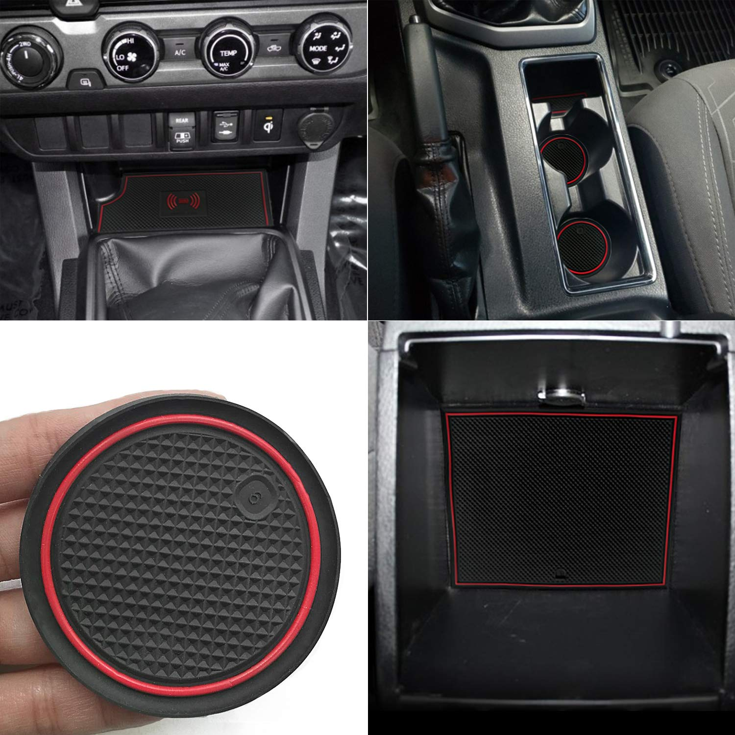 Auovo Anti-dust Custom Fit Cup Pads Door Liners Center Console Mats Accessories for Toyota Tacoma 2016 2017 2018 2019 Double Cab Full 4 Doors Red, Manual Transmission-Without QI Charging Models