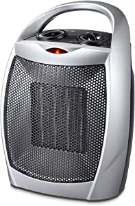 Kismile Small Ceramic Space Heater Electric Portable Heater Fan with Adjustable Thermostat and Overheat Protection ETL Listed for Home Office and Kitchen Indoor Use,750W/1500W (Silver)