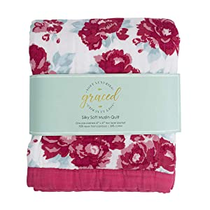 """GRACED SOFT LUXURIES Softest Large 4-Layer Bamboo Muslin Quilt, 47"""" x 47"""" Bamboo + Cotton Blanket, Peony Floral"""