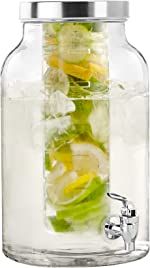 Style Setter 210437-GBS Fruit Infuser Glass Beverage Dispenser with Metal Lid,