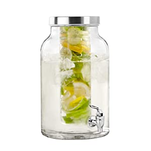 "Style Setter Lexington 210437-GBS Fruit Infuser Glass Beverage Dispenser with Metal Lid 8.5x13.5"" Clear"