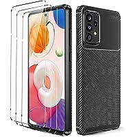 Oududianzi - Etui do Samsung Galaxy A52 5G + [3X folia ochronna na wyświetlacz ze szkła pancernego], [tekstura z włókna…