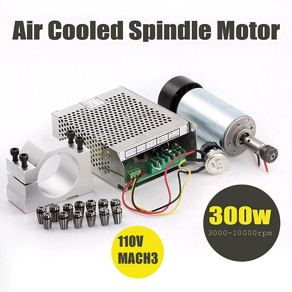 Beauty Star 1Set DIY Mini CNC 300w DC Spindle Motor + 52MM Clamp + 110V Power Converter + 13 PCS ER11 Collect