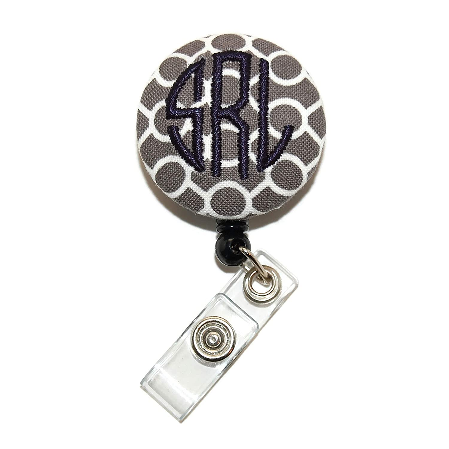 Monogrammed Coral Floral Badge Reel Retractable for ID or Key Card