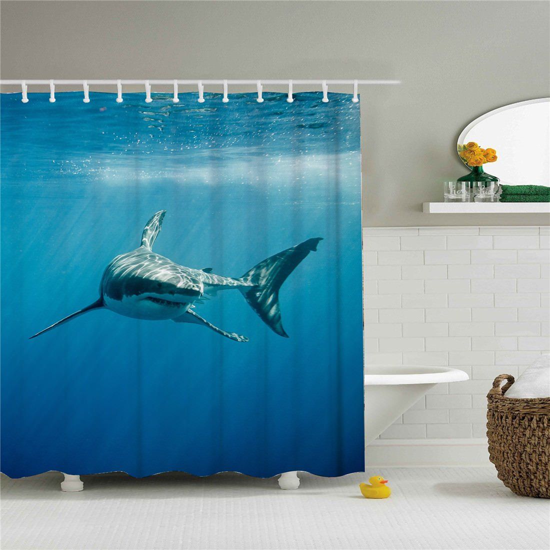 starlight-Bracele Bathroom shower curtain, shark swimming beauty screen, blue.Fabric Shower Curtain Set, Color Painting Polyester Shower Curtain, Quick Dry Machine Washable, Violet