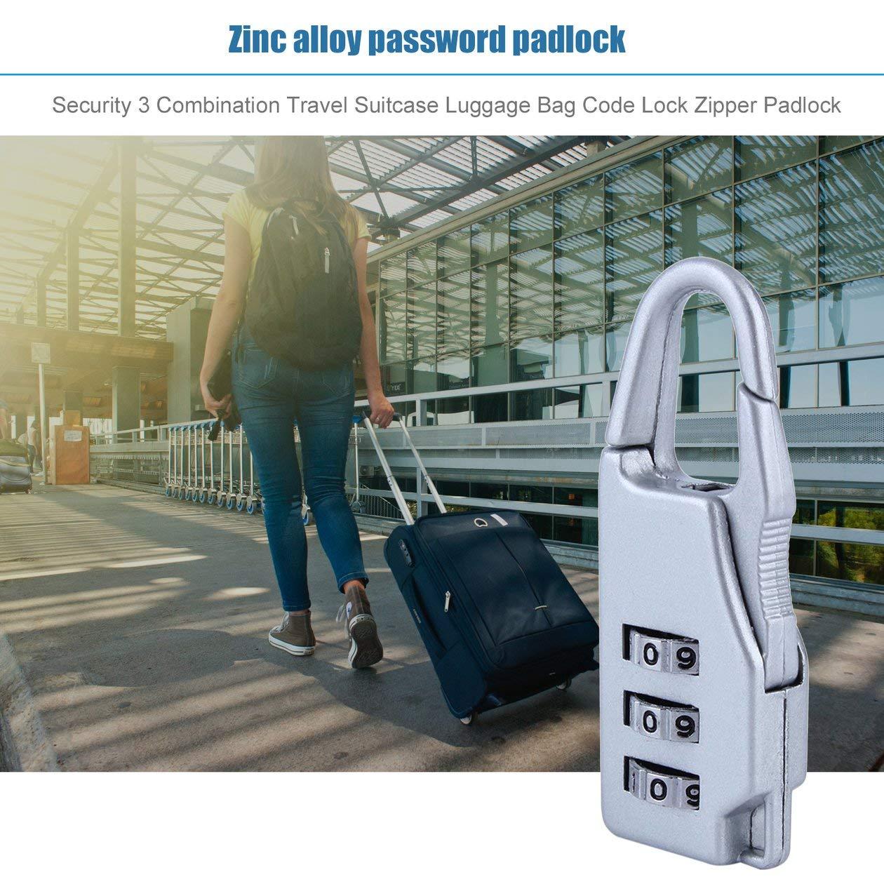 BIYI 1 pc New Security 3 Combinaison de voyage en alliage de zinc Valise Sac /à bagages Bo/îtes /à bijoux Coffres /à outils Verrouillage du code Fermeture /à glissi/ère Cadenas Bleu