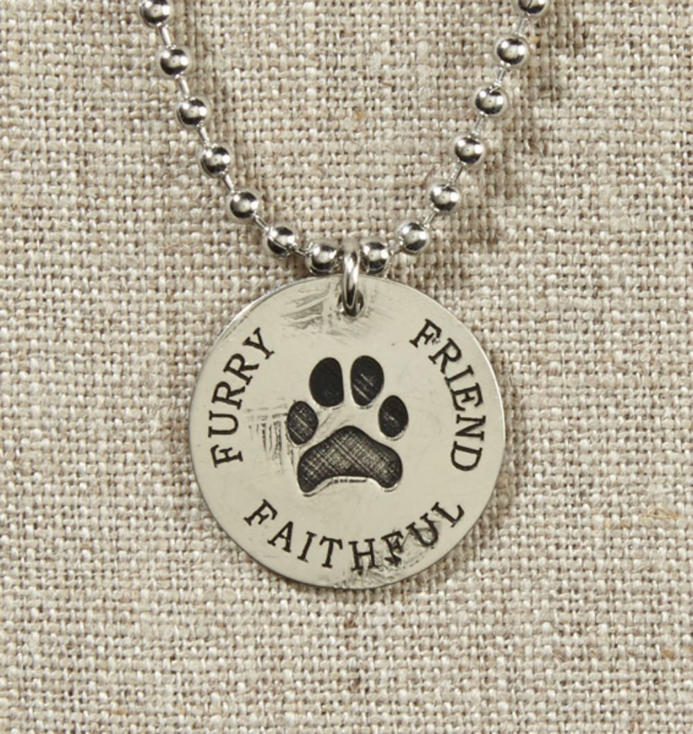 Set of 4 Grateful Heart- Silver with Paw Print Necklace on Silver Chain