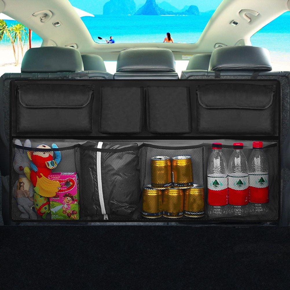 Schwarz VORCOOL Autositz-Organizer mit 8 Taschen f/ür 3-Sitzer-R/ückbank