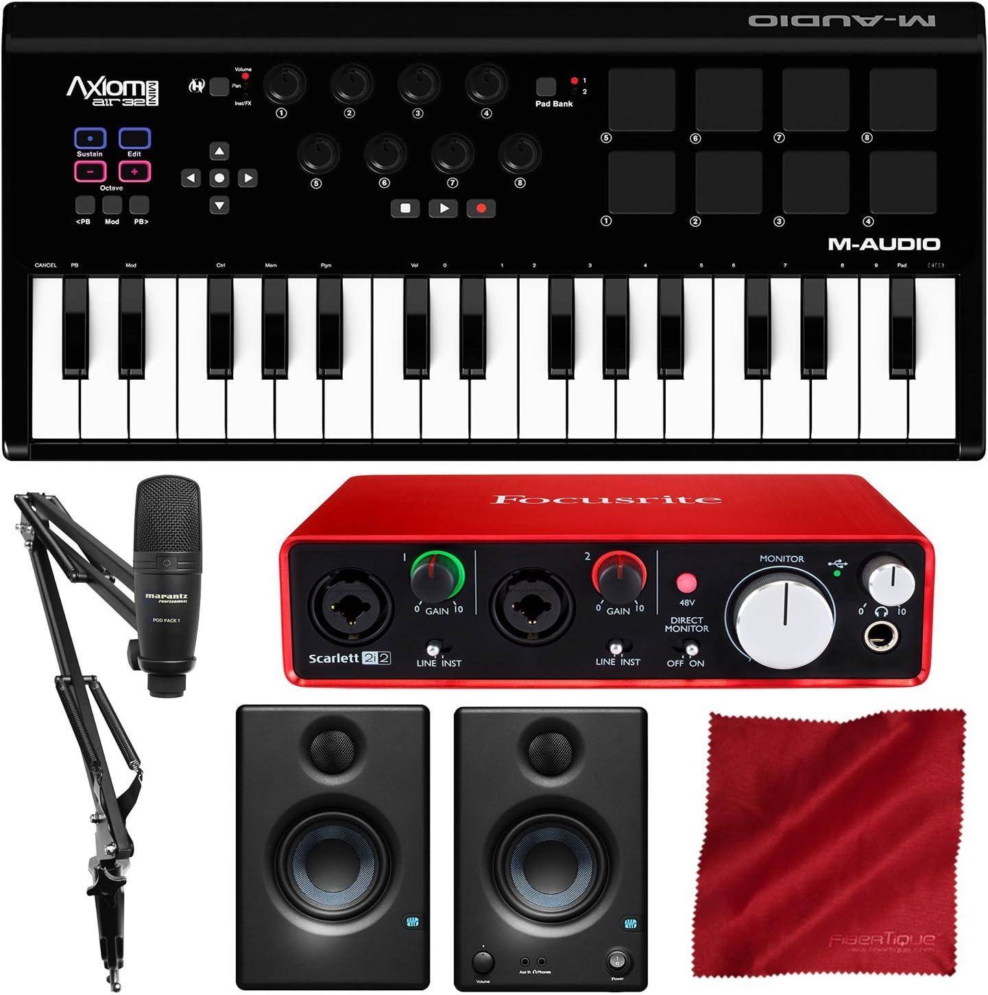 M-Audio Axiom Air Mini 32 USB MIDI teclado con Focusrite Scarlett 2i2 Interfaz de audio USB, Marantz Pod Pack 1 Kit de micrófono USB, y Premium Bundle: Amazon.es: Instrumentos musicales