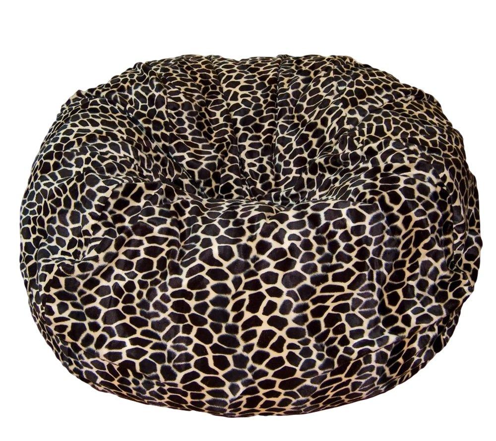 Ahh! Products Tan Giraffe Animal Print Fur Washable Large Bean Bag Chair