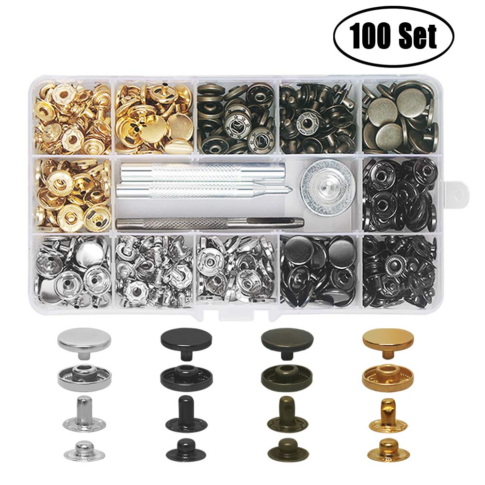 100 Set Snap Fasteners Kit Leather Snaps Button Kit Press Studs with 4 Pcs Fixing Tools for Leathercraft, Clothing, 4 Color Aipaide 4337006023