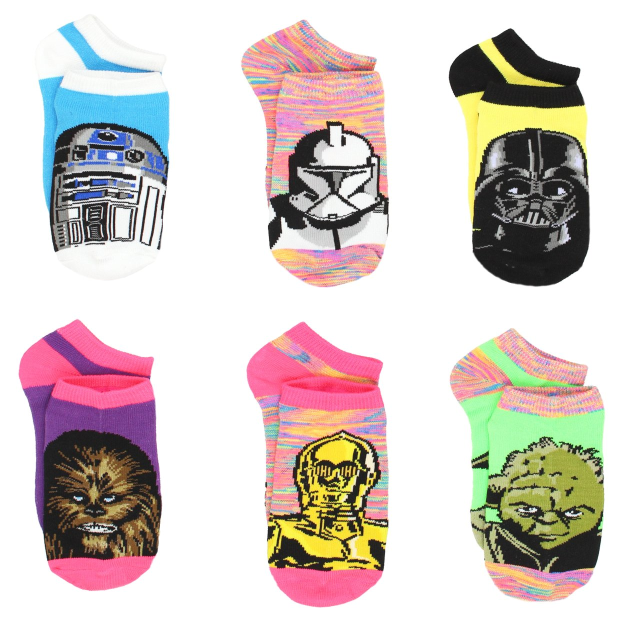 Star Wars Girls Teen Adult Womens 6 pack Socks (9-11 Womens (Shoe: 4-10), Galaxy Neon Heather)